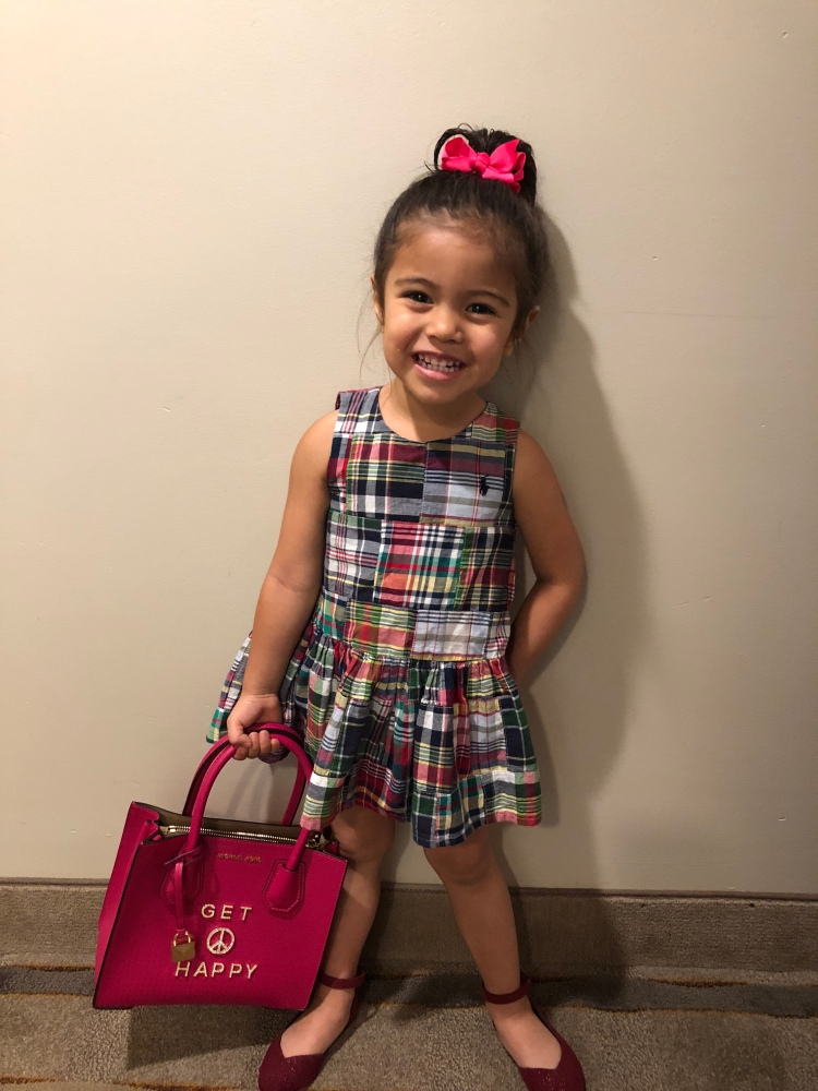 Everly sporting her Ralph Lauren plaid dress, Old Navy Ballerina Shoes, Michael Kors Mini-Pink handbag #thesewereallgifts #shestheonlygrandchild #shelovedit